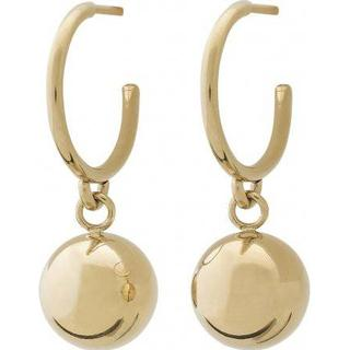 Edblad Atom Stainless Steel Gold Plated Earrings w. Gold Onyx (111294)
