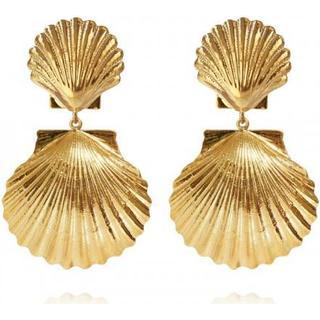 Caroline Svedbom Mermaid Gold Plated Earrings w. Swarovski Crystals