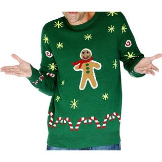 Morphsuit Gingerbread Snack Knitted Christmas Sweater - Green