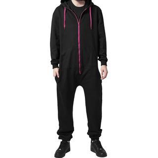 Urban Classics Sweat Jumpsuit - Black/Fuchsia