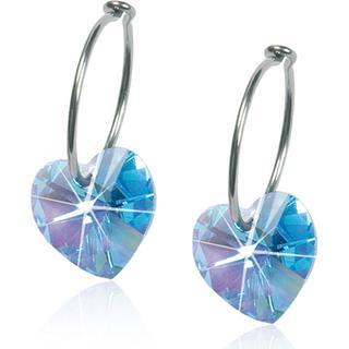 Blomdahl Heart Earrings - Silver/Aquamarine