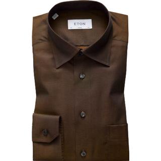 Eton Button Under Collar Shirt - Brown