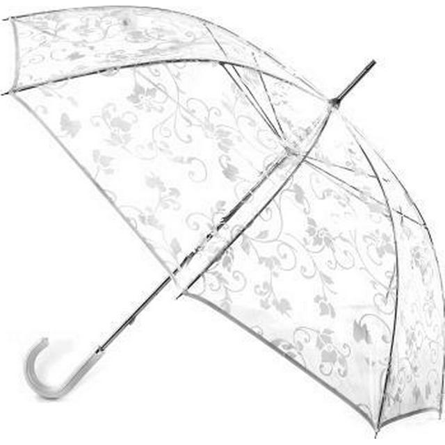 Totes Ladies PVC Walker Umbrella White Floral Scroll (9717WHI)