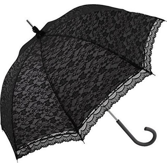Umbrella World Lace Walking Umbrella Black Over White (uw00_3483)