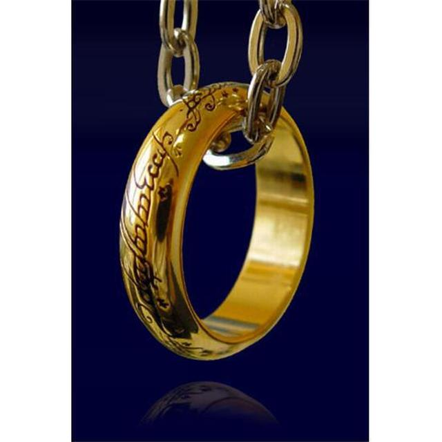 Noble Collection Lord Of The Rings Gold Plated Ring Necklace