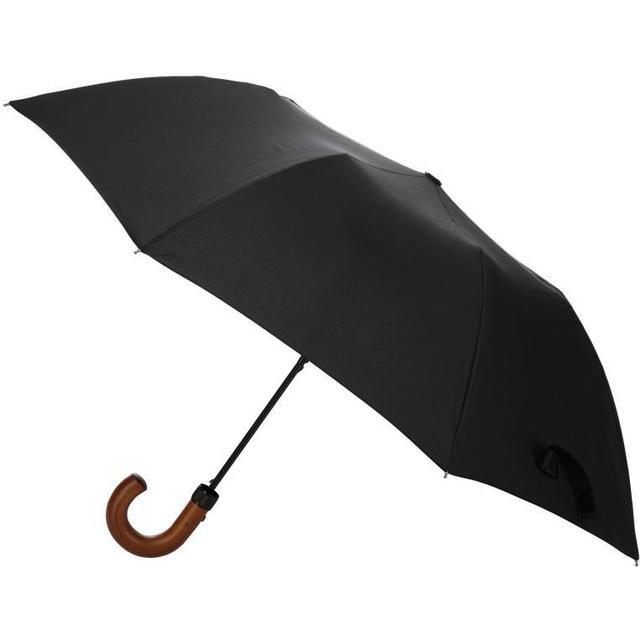 Totes Automatic Classic Wood Crook Umbrella Black (7200BLK)
