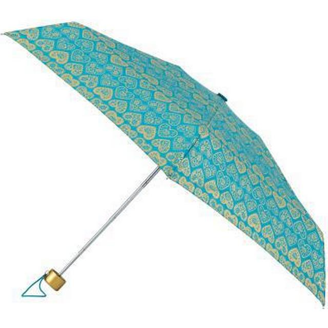 Totes Mini Round 5-Section Metallic Umbrella Folk Heart Print (8063RLF)