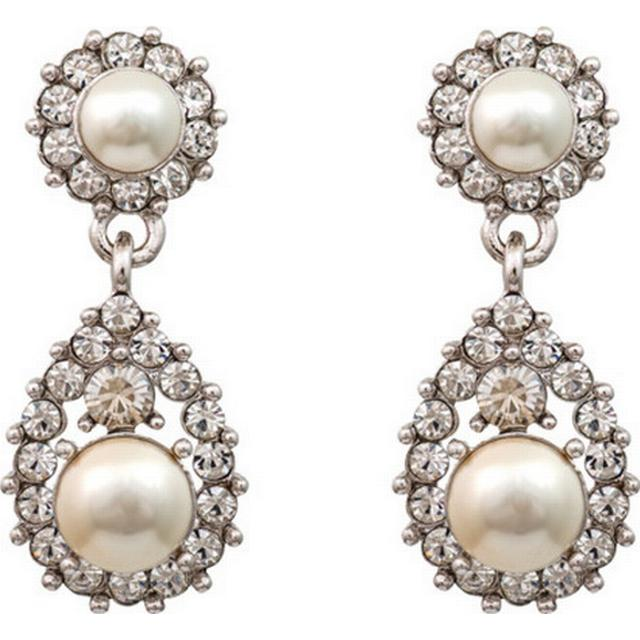 Lily and Rose Sofia Brass Earrings w. Swarovski Crystals/Pearl - 3.5cm