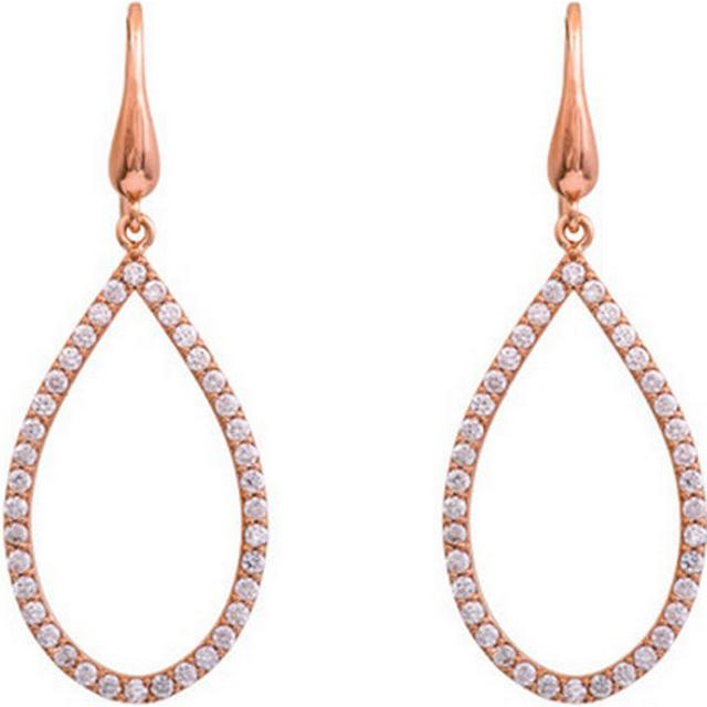 Lily and Rose Kennedy Brass Earrings w. Cubic Zirconia - 4.8cm