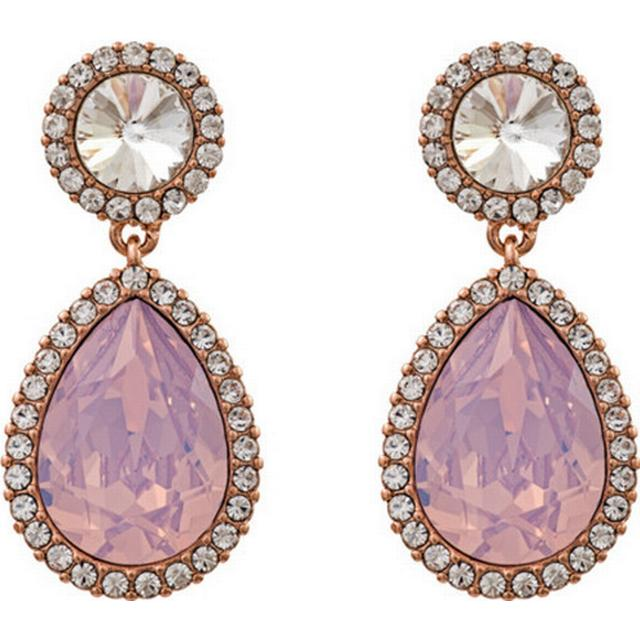 Lily and Rose Miss Carlotta Brass Earrings w. Rose Opal/Swarovski Crystals - 3cm