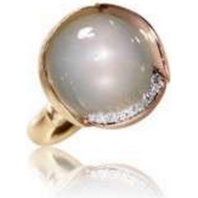 Ole Lynggaard Lotus Gold Ring w. White Moon Stone Cabochon (A2652-406)