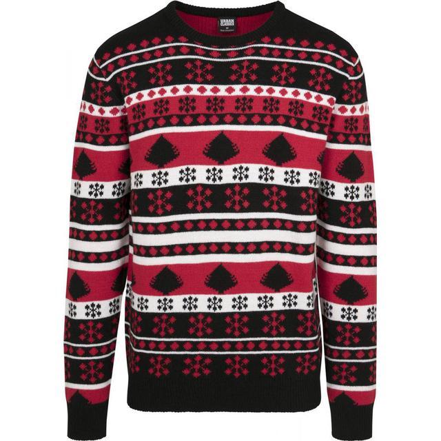 Urban Classics Snowflake Christmas Tree Sweater - Black/ Fire Red/ White