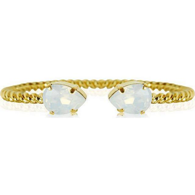 Caroline Svedbom Mini Drop Brass Gold Plated Bracelet w. White Opal Swarovski Crystals