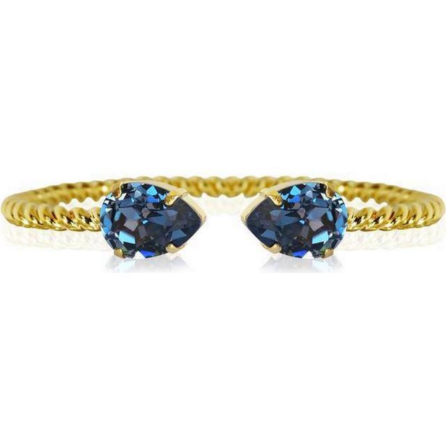 Caroline Svedbom Mini Drop Brass Gold Plated Bracelet w. Denim Blue Swarovski Crystals