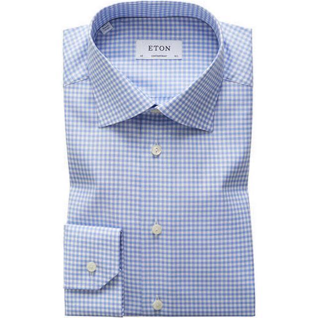 Eton Classic Fit Check Twill Shirt - Sky Blue